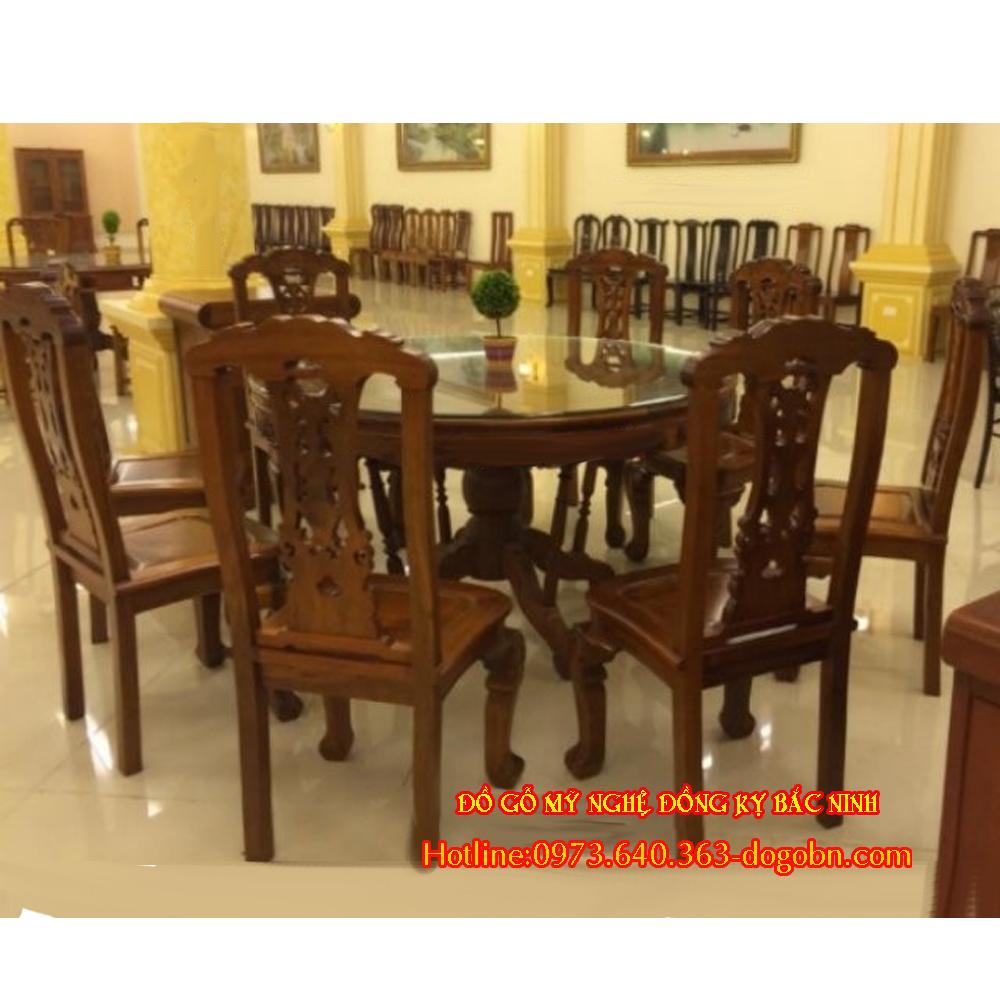 Bộ bàn ăn kiểu cờ bạc gỗ gụ