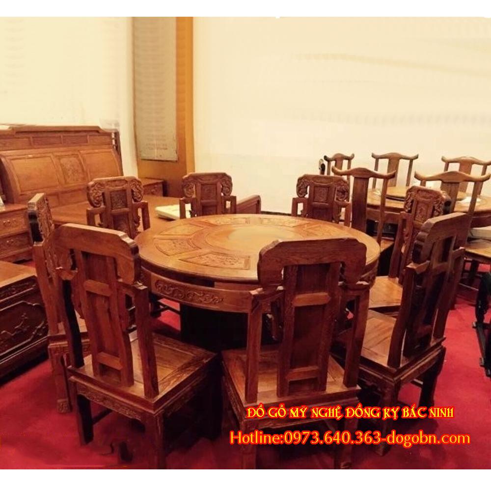 Bộ bàn ăn kiểu tàu gỗ hương