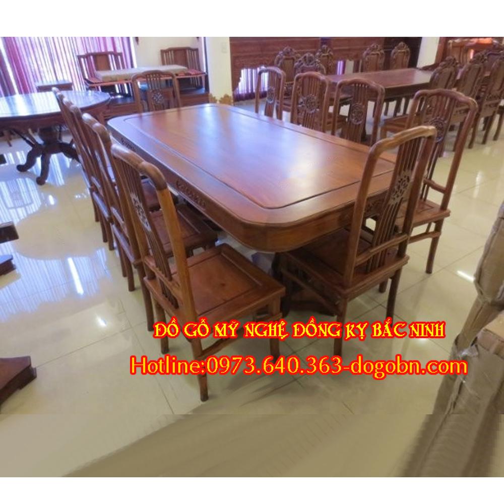 Bộ bàn ăn kiểu vách lan gỗ gụ