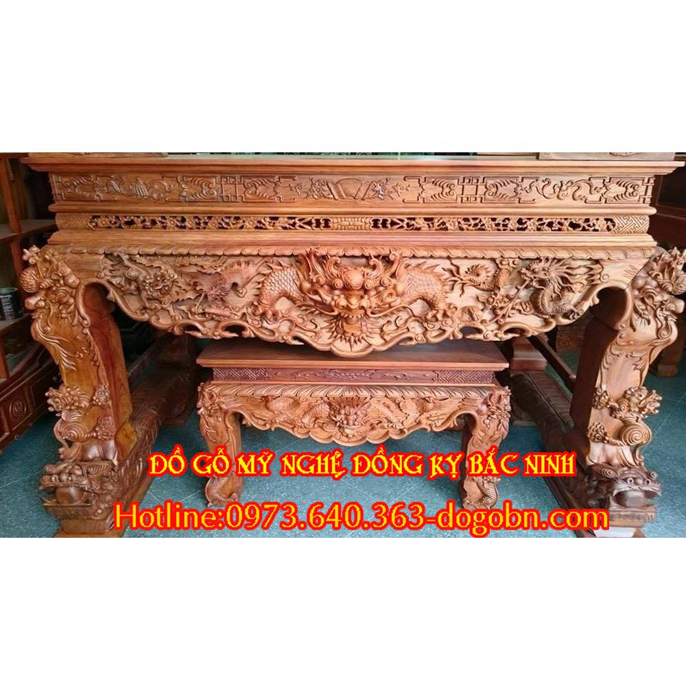Sập thờ chạm tứ linh gỗ hương